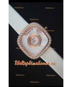 Chopard Happy Diamonds 38MM Correa Blanca, Dial Blanco