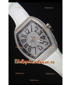 Franck Muller Vanguard Reloj Replica Suizo, Dial con Diamantes Incrustados