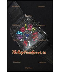 Franck Muller Conquistador King Automatic Crazy Colors Reloj Replica Suizo Caja con Revestimiento en PVD