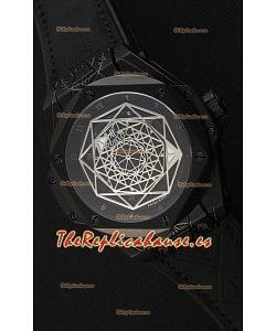 Hublot Big Bang Sang Bleu 45MM Reloj Réplica Suizo con Revestimiento PVD en color Negro