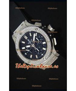 Hublot Big Bang Reloj Suizo en Acero Inoxidable Dial de Carbón con Diamantes Tachonados