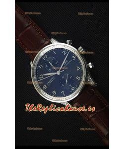 IWC Portuguese  Reloj Replica Cronógrafo a Espejo 1:1 Dial Negro Correa Marrón con Diamantes