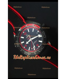 Omega Seamaster Planet Ocean Deep Black Red GMT Reloj Replica Suizo Edición 1:1