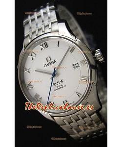 Omega De-Ville Annual Calendar Reloj Réplica Suizo a espejo 1:1 Correa de Acero Dial en Blanco