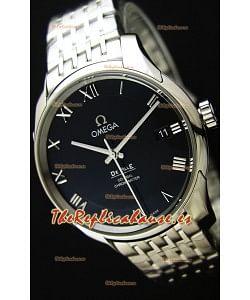 Omega De-Ville Annual Calendar Reloj Réplica Suizo a espejo 1:1 Correa de Acero Edición Dial Negro
