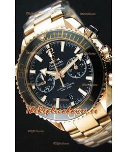 Omega Seamaster Planet Ocean 600M Reloj Réplica Cronógrafo a espejo 1:1 en Oro Rosado