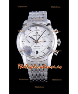 Omega De Ville Chronograph Reloj Réplica a Espejo 1:1 en Dial Blanco 42MM