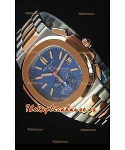 Patek Philippe Nautilus 5980 Cronógrafo Replica a Espejo 1:1 - Caja en dos Tonos - Dial Azul