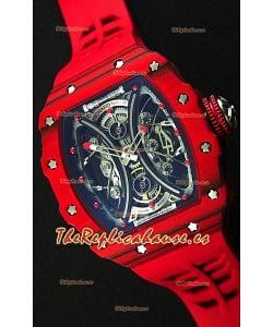 Richard Mille RM53-01 Pablo Mac Donough Caja de Carbón Forjado color Rojo Reloj Réplica Suizo