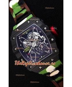 Richard Mille RM35-01 Rafael Nadal Caja de Carbón Forjado con Correa de Goma tipo Camuflaje