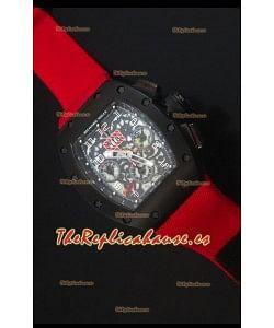 Richard Mille RM011 Filipe Massa Reloj Replica Suizo Revestimiento PVD en correa Roja de Nylon