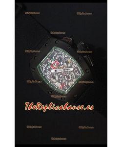 Richard Mille RM011 Filipe Massa Reloj Replica Suizo Revestimiento PVD en correa Negra de Nylon