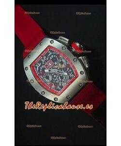 Richard Mille RM011 Filipe Massa Reloj Replica Suizo Caja en Titanio en Correa de Nylon Roja