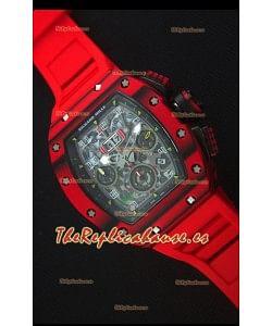 Richard Mille RM011-03 Reloj con Caja de Carbón Forjado Rojo de una sola Pieza en Correa color Rojo