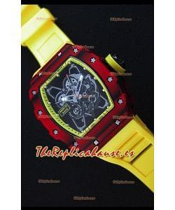 Richard Mille RM35-01 Reloj con Caja de Carbón Forjado Rojo de una sola Pieza en Correa color Amarillo