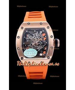 Richard Mille RM035 AMERICAS Reloj Réplica en Oro Rosado de 18K Correa Naranja