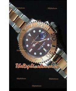 Rolex Yachtmaster Reloj Replica Suizo escala 1:1 en Oro Rosado de Dos Tonos Dial Gris