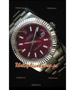 Rolex Datejust II 41MM Reloj Replica Suizo con Movimiento Cal.3136 Dial en color Rojo Oscuro y Profundo, Marcadores de Hora tipo Stick