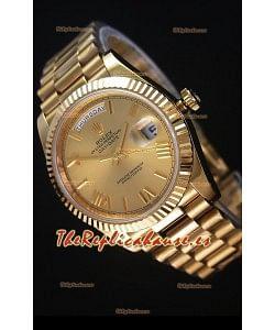 Rolex Day-Date 40MM Reloj Replica Dial en Oro con Numerales de Hora en Numeros Romanos Movimiento Suizo Cal.3255