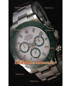 Rolex Cosmograph Daytona Dial Blanco Cerámica Verde Movimiento Original Cal.4130 - Ultimate Reloj de Acero 904L