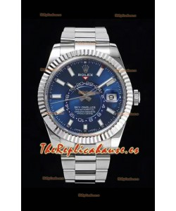 Rolex Sky-Dweller REF# 326934 Dial Azul Reloj Caja de Acero 904L Réplica a Espejo 1:1