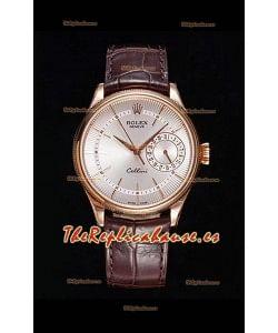 Rolex Cellini Date Ref#50515 Réplica a Espejo 1:1 Oro Rosado Dial Blanco Reloj en Acero 904L