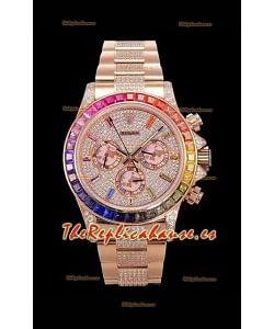 Rolex Daytona ICED OUT Movimiento Original Cal.4130 - Reloj de Acero 904L Oro Rosado Réplica a Espejo 1:1