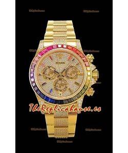 Rolex Daytona ICED OUT Movimiento Original Cal.4130 - Reloj de Acero 904L Oro Amarillo Réplica a Espejo 1:1
