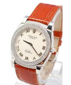 Rolex Celleni Cestello Reloj Suizo Señoras con Esfera Blanca Romana, Correa de Piel, Diamantes en Bisel y Terminales