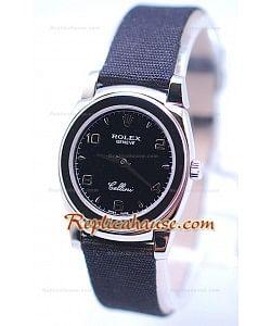 Rolex Celleni Cestello Reloj Suizo Señoras Todo Negro Nilón