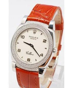Rolex Celleni Cestello Reloj Suizo Señoras con Esfera Blanca, Correa de Piel con Diamantes en Horas, Bisel y Terminales