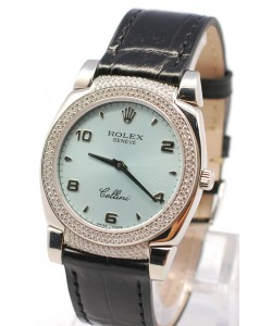 Rolex Celleni Cestello Reloj Suizo Señoras con Esfera Azul, Correa de Piel Negra y Diamantes en Bisel y Lugs