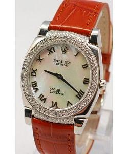 Rolex Celleni Cestello Reloj Suizo Señoras con Esfera Perla Blanca Romana, Correa de Piel y Diamantes en Bisel y Terminales
