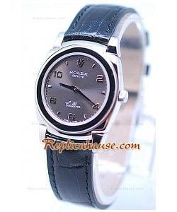 Rolex Celleni Cestello Reloj Suizo Señoras Esfera Gris Platay Correa Negrga