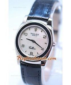 Rolex Celleni Cestello Reloj Suizo Señoras Esfera Perla Blanca y Correa de Piel