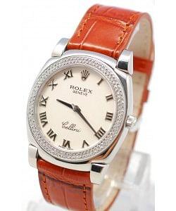 Rolex Celleni Cestello Reloj Suizo Señoras con Esfera Blanca Romana, Correa de Piel y Diamantes en Bisel