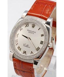 Rolex Celleni Cestello Reloj Suizo Señoras con Esfera Plata, Correa de Piel y Diamantes en Bisel y Terminales